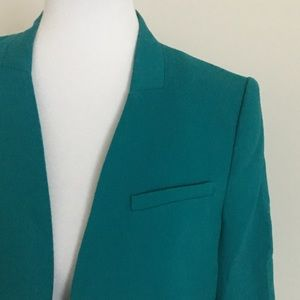 The Limited Jackets & Coats - The Limited teal collarless blazer